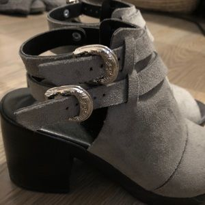 Topshop Gray Suede Sandles with Silver Buckles